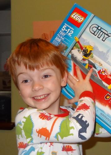 Henry Opens Lego Fire Ship
