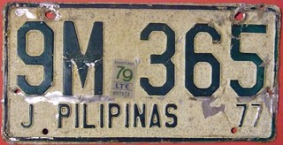 PHILLIPINES 1977-79 ---LICENSE PLATE