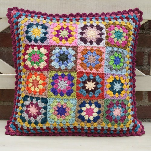 grannie cushion with dark pink edge