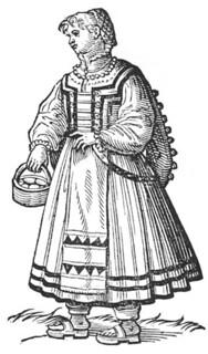 Cesare Vecellio: Peasant woman from Cividale, 1590 De gli Habiti antichi et moderni di Diverse Parti del Mondo