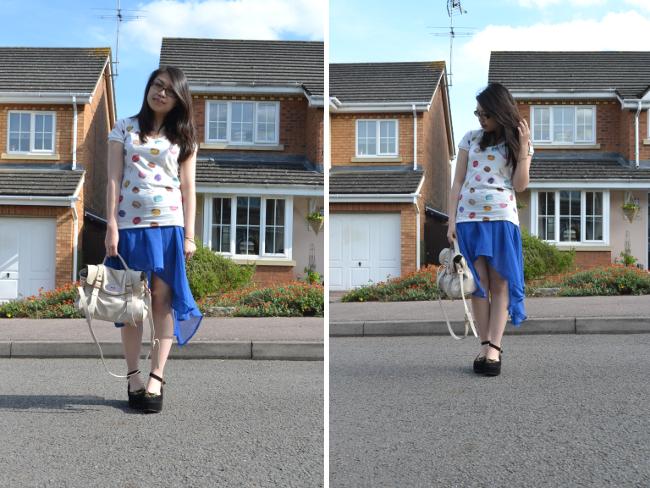 Daisybutter - UK Style and Fashion Blog: ways to wear, uniqlo laduree, uniqlo collaboration, glamorous, dipped hem skirts, mulberry alexa, flatform shoes