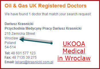 Oil & Gas UK registered  doctor