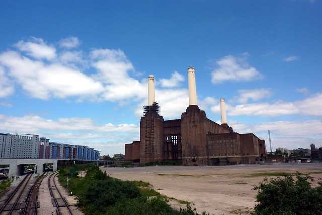 Battersea Power Station and the railroad tracks