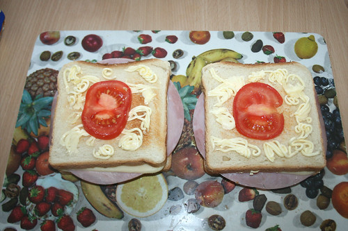 14 - Mit Butterflocken & Tomaten belegen / Cover with butter & tomatoes