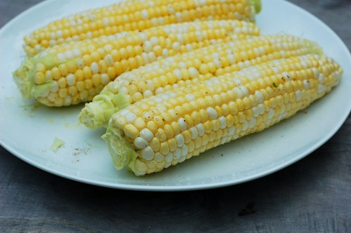 Corn rubbed with olive oil, salt and pepper by Eve Fox, the Garden of Eating blog, copyright 2013