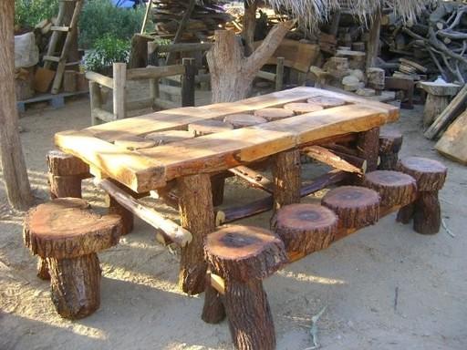 muebles rusticos de troncos