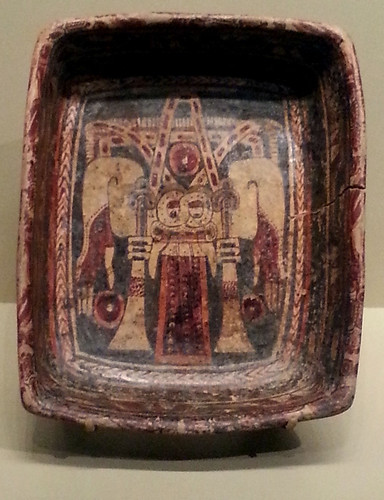 Maya polychrome dish depicting Chaak, the rain god, Copán, Honduras ca AD 700 Clay, paint 24-4301 The National Museum of American Indian NYC.jpg