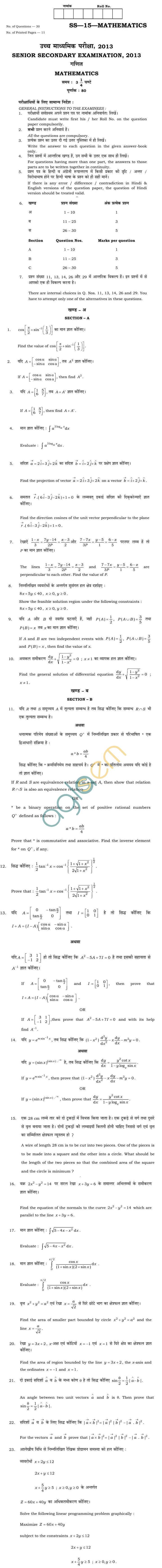 Rajasthan Board Sr. Secondary Maths Question Paper 2013