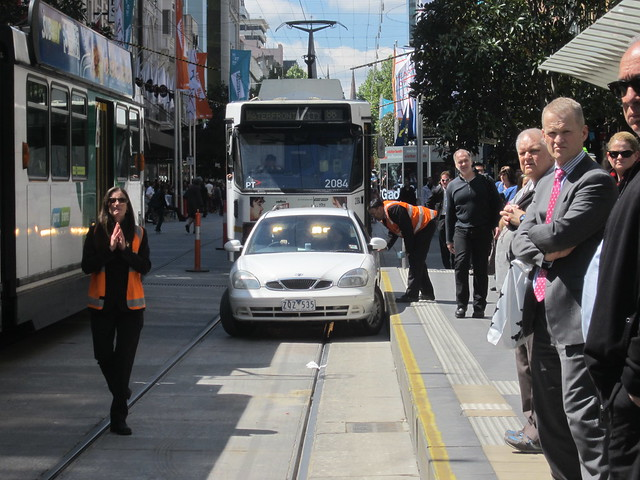 Bourke Street Mall, car comes into tram stop