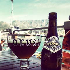 Enjoying quality beer under the table. #TableMountain #CapeTown #Beer #ILoveBeer #TheBeerLife #DenAnker #V&AWaterfront #Orval #Trappist #Ale