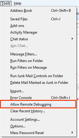 Thunderbird > Allow remote debugging