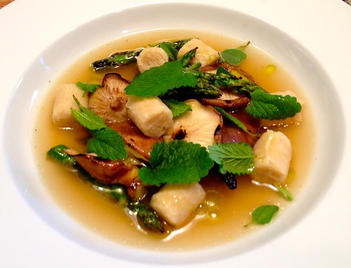 Vegetables, hummus gnocchi, charred onion broth, lemon balm