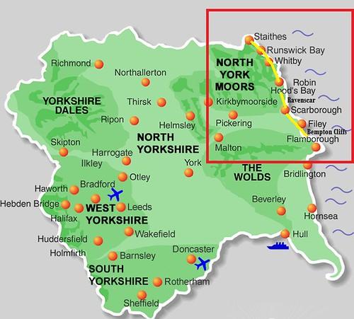Mapa de la costa de Yorkshire (Inglaterra)