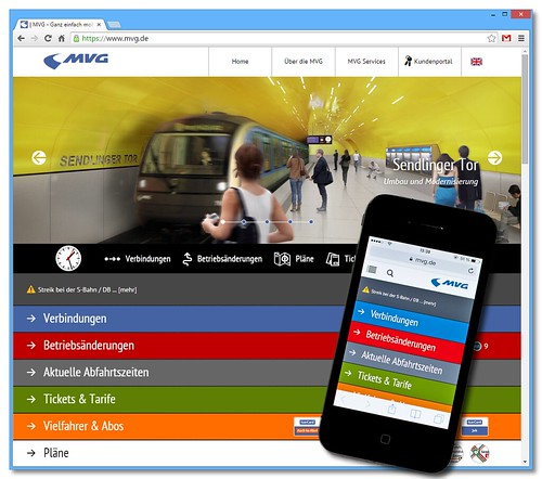 Neues Design und Optimierung für mobile Endgeräte