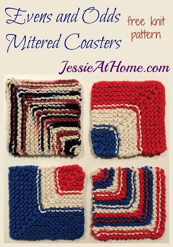 Evens and Odds Mitered Coaster ~ Free Knit Pattern by Jessie At Home