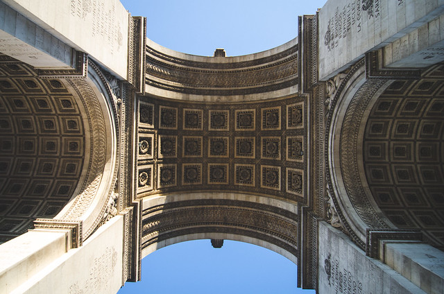 Underneath the massive Arc de Triomphe in Paris.