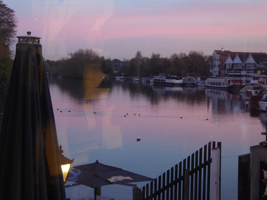 Sunset from the Angel on the Bridge pub, Henley Henley via Stonor walk