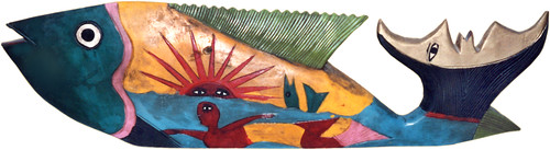 Mexican folk-art fish with a happy bald mermaid, carved out of wood and painted