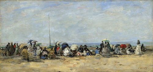 Eugene Boudin - Beach Scene, Trouville [c.1860-70] by Gandalf's Gallery