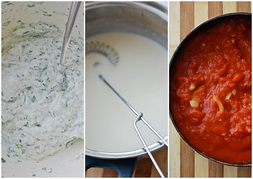 ricotta, bechamel and tomato sauce