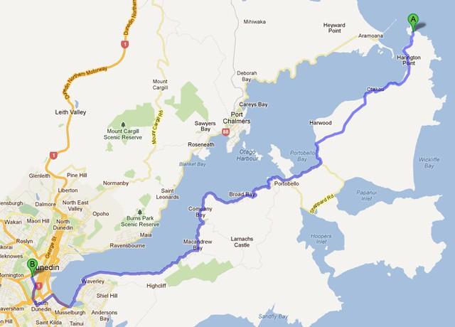 Google Maps - Dunedin - Otago Peninsula
