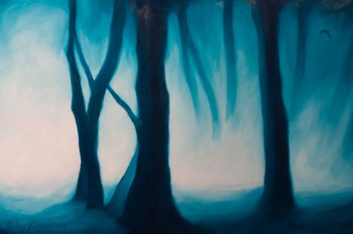 """Ernesto Morales:""""Golondrinas en el bosque"""" 2012 olio su tela 50x150 (particolare)"""