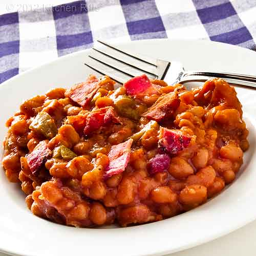 Baked Beans with Bacon on Plate