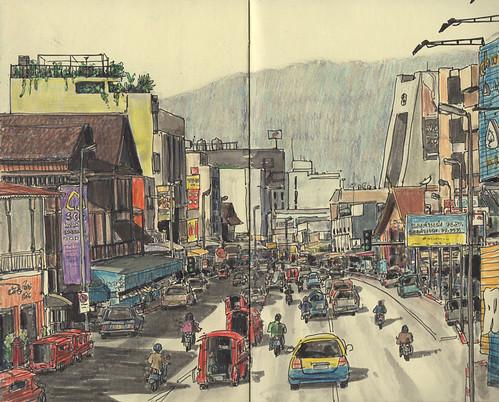 moleskine pen thailand drawing sketchbook location chiangmai urbansketchers