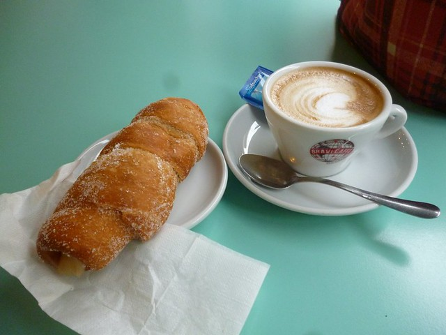 Italian breakfast of cappucino and cornetto