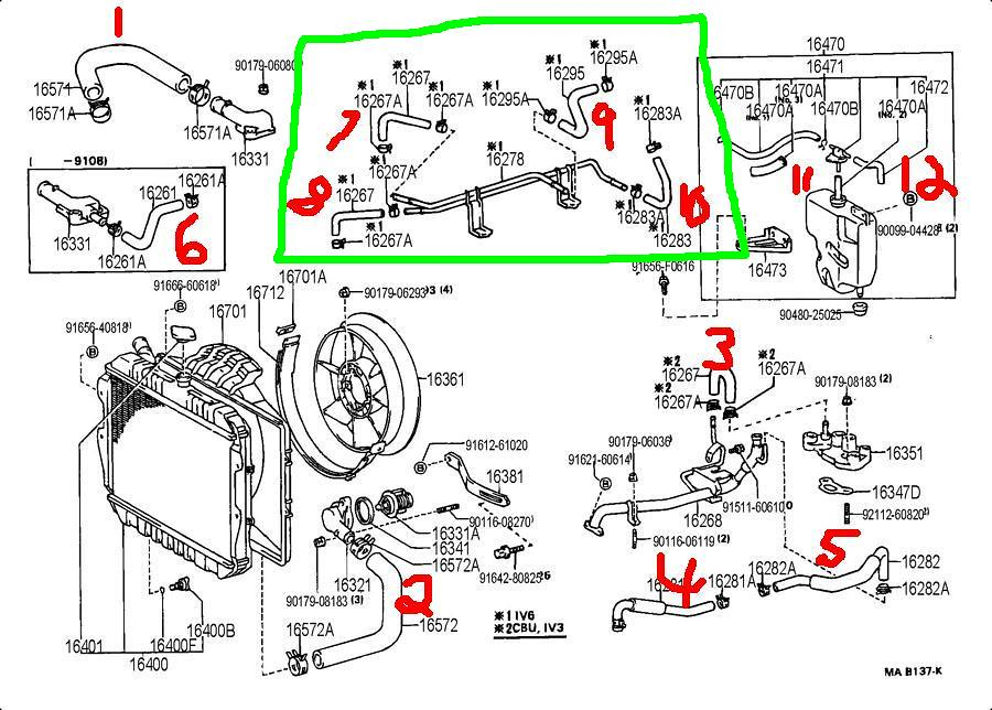 3vze coolant hose help yotatech forums i m in the process of checking replacing all of my coolant hoses but need some help iding locating some hoses on the dealer parts diagram
