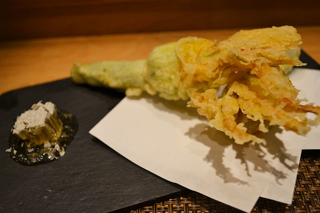 Zucchini Blossom Tempura, Fat Cow, Singapore
