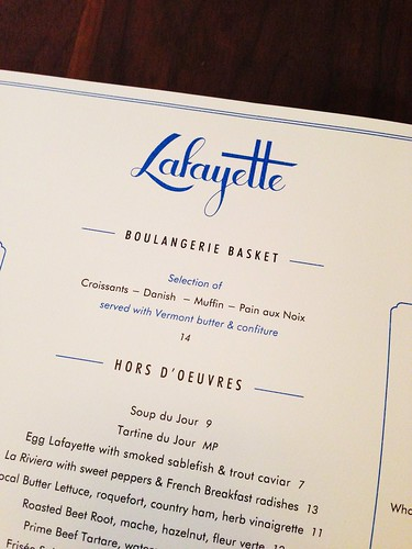 Lafayette's Brunch Menu