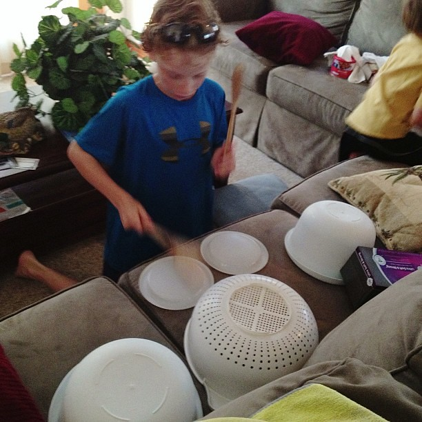 You can take the boy away from his drum set and he still finds a way to play drums...#1000gifts
