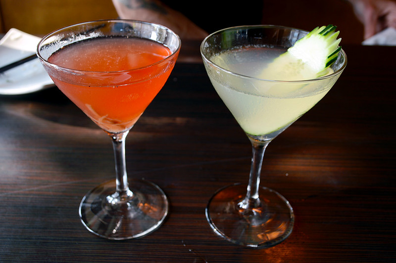 Hibiscus Cooler and Cucumber Martini