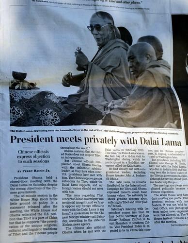 President meets privately with Dalai Lama, HH the Great 14th Dalai Lama praying over the Kalachakra mandala sand being retired to a river, Washington Post article, Kalachakra for World Peace, Washington D.C., USA by Wonderlane