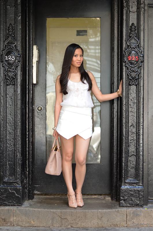 white on white Zara origami skort