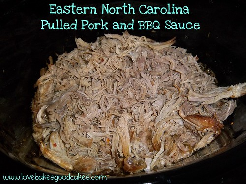 Eastern NC Pulled Pork and BBQ Sauce in bowl.