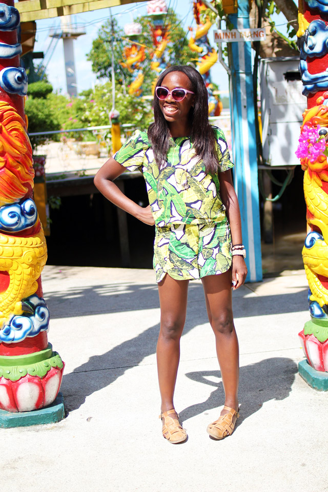Topshop banana leaf print tee and scallop hem shorts