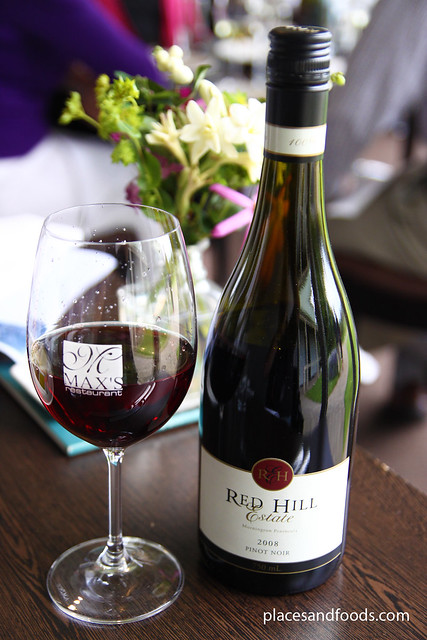 max's restaurant red hill estate pinot noir