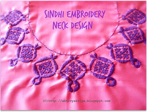design of sindi embroidery for kurta neck