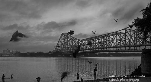 bridge blackandwhite kolkata ganges howrahbridge howrah hooghly