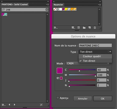 Conversion d'une couleur Pantone en couleur quadri à partir du logiciel Illustrator.