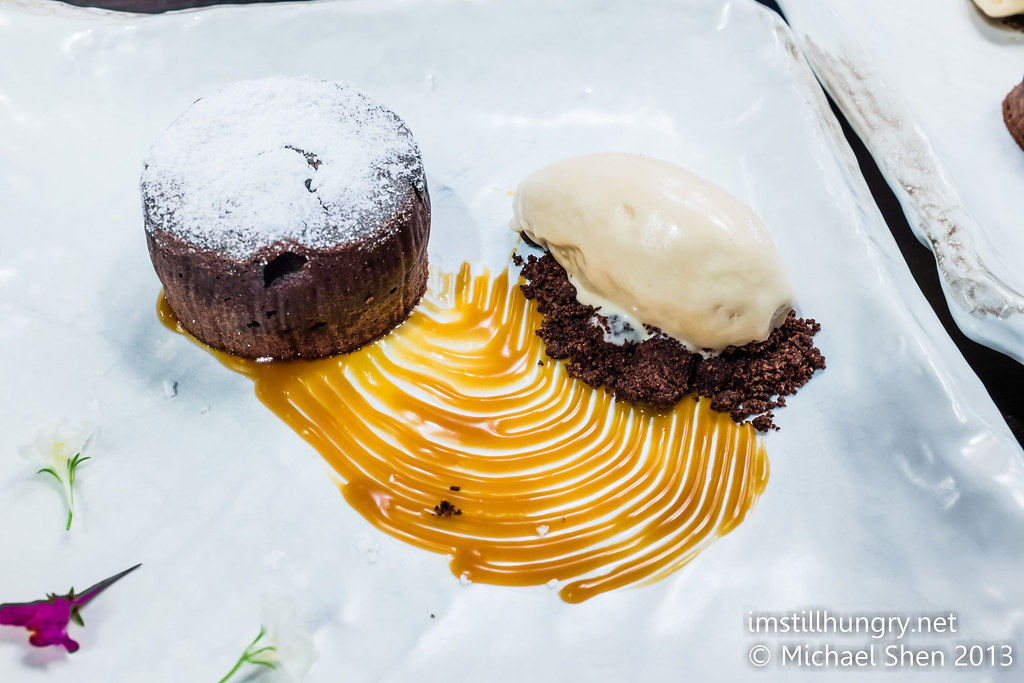 Chocolate fondant w/white sesame ice cream Sake Restaurant