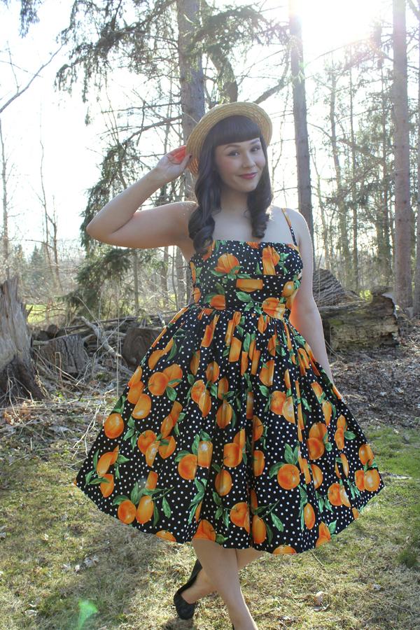 orange print dress