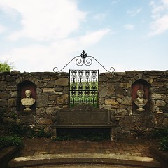 Double-busted. #latergram #Shenandoah #Shenandoahvalley #regal #bust #stonewall #bench #fancy #valley #garden #arboretum