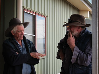 Locals discuss the odds at the Sheep Shenanigans at Jundah.
