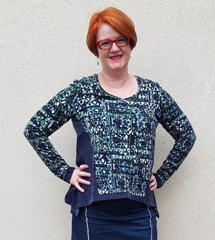 Style Arc Bianca top in knit remnant and tencel woven