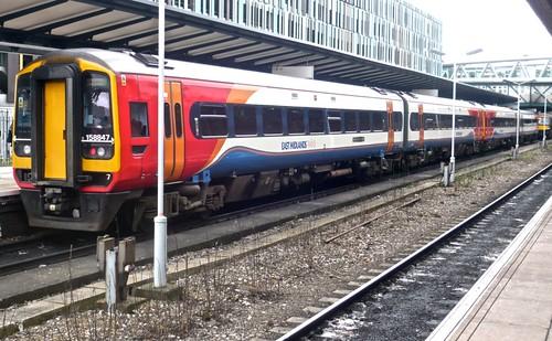 Class 158 847 'East Midland Trains' Diesel Multiple Unit on 'Dennis Basford's railsroadsrunways.blogspot.co.uk'