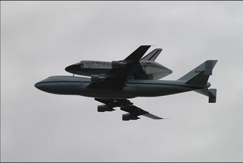 Discovery flies over NASA Goddard