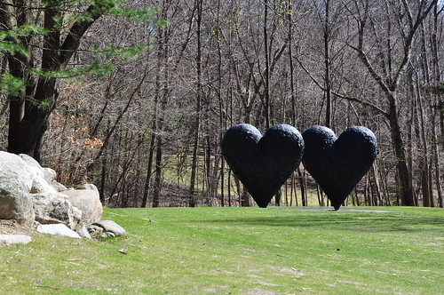 Two hearts in a park